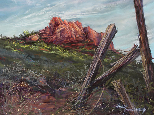weathered fencepost against red mt landscape painting by Lindy Cook Severns