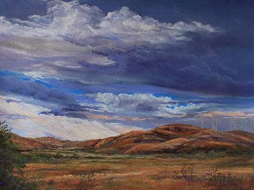 layered blue clouds over golden ranchland landscape painting by Lindy Cook Severns