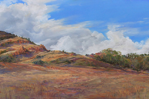 storms build over golden grass mountain ranchland landscape painting by Lindy Cook Severns