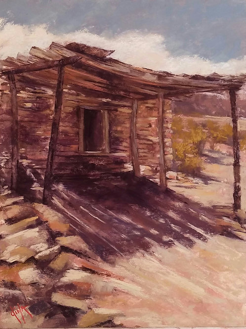 old adobe in Terlingua Ghost Town landscape by Dina Gregory