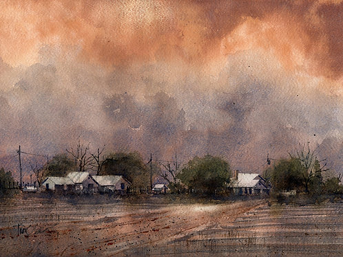 stormy red clouds over farm watercolor landscape by Tim Oliver