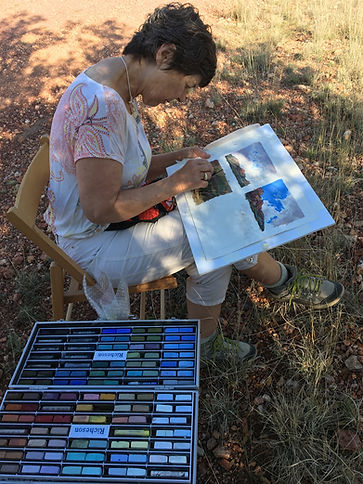 artist lindy cook severns paints with pastels on location in the davis mountains of west texas