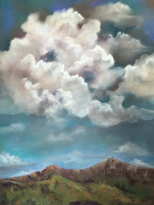 towering white clouds over Texas mountains painting by Ginger Lemons