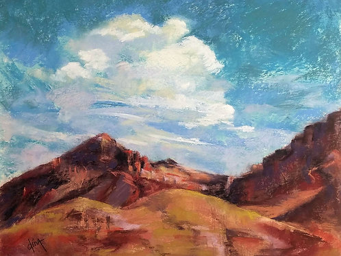 white clouds on a turquoise sky in Big Bend NP landscape painting by Dina Gregory