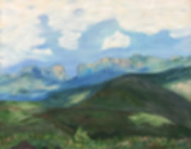 white clouds, green pastures blue mountains landscape painting roxa robison art