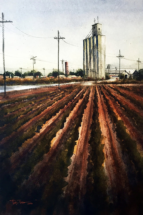plowed field and grain elevator watercolor landscape by Tim Oliver