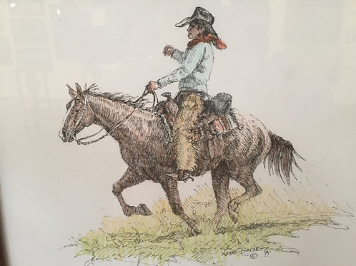 cowboy on horse pen and ink drawing