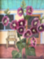 red hollyhocks wooden chair on porch beth francell pastel painting