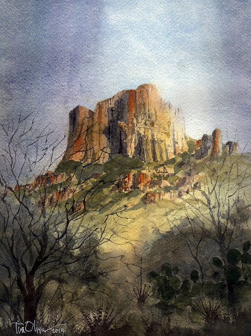 Casa Grande peak in the Chisos Basin Big Bend NP watercolor by Tim Oliver