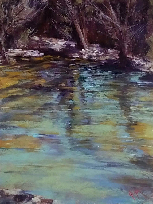 turquoise water and rocks landscape painting by Dina Gregory