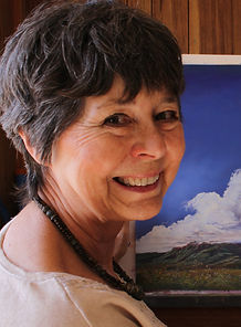 artist with blue sky painting lindy severns ost gallery