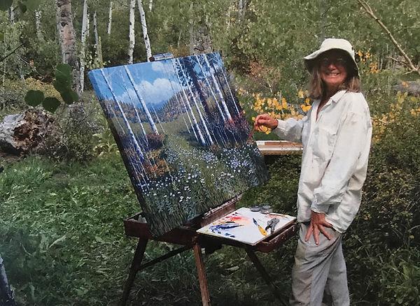 artist priscilla wiggins at easel in aspen grove