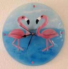 Flamingo Clock round