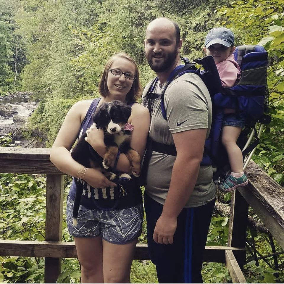 Our Luna puppy's first family adventure! I carried her in and out the majority of the way.