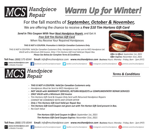 September, October & November's Special Offers: Tim Horton's Gift Card