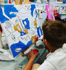 Gabe working on his masterpiece.jpg