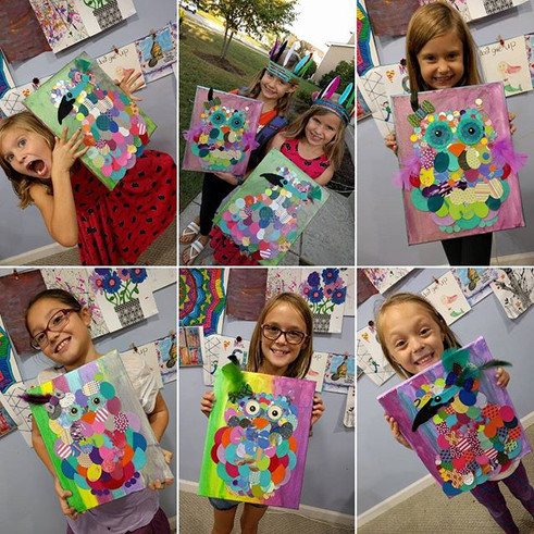 Tuesday artists completed their birds an