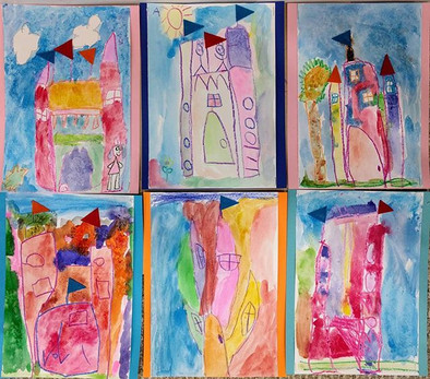 Watercolor Castles with wax crayon resis