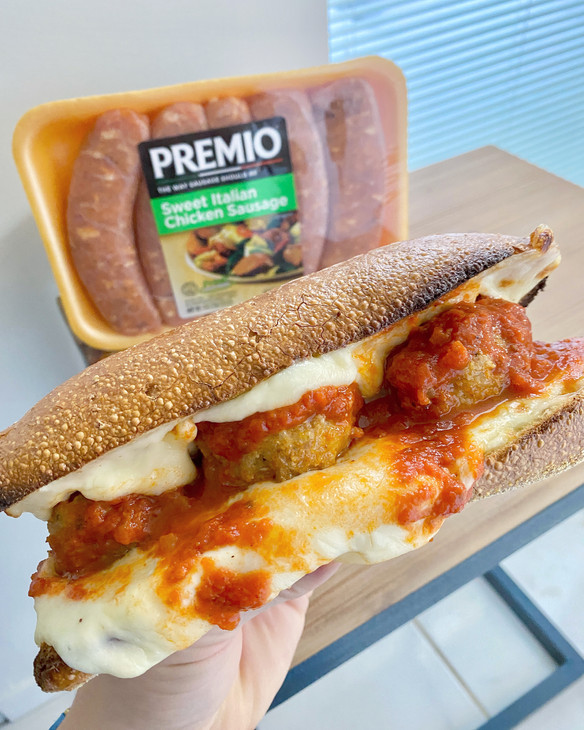 Lightened Up Meatball Parm Hero Ft. Premio Sweet Italian CHicken Sausage