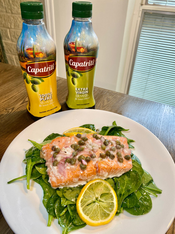 Easy Roasted Salmon Spinach Salad w/ Capatriti Olive Oil