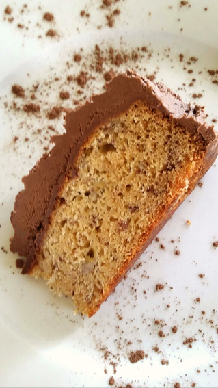 Traditional Banana Cake with Chocolate Butter Cream Frosting