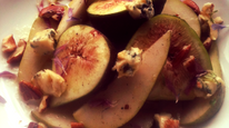 Sweet Fig, Pear, Blue cheese and Walnut salad with a light honey dressing