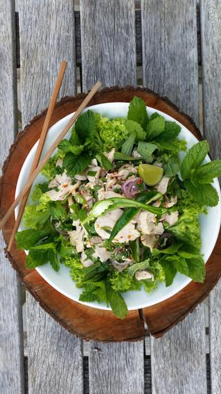 Larb chicken (Laotian chicken salad)