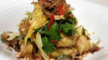 Turmeric Fish Salad with Mango, Green Apple and Nuoc Mam Cham Dressing