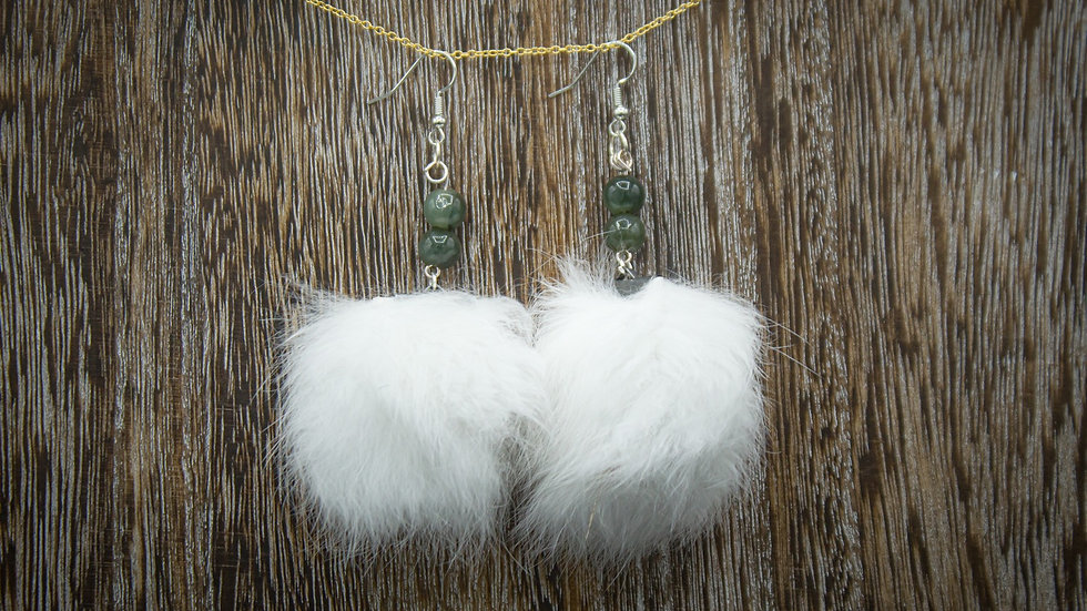 Rabbit fur earrings