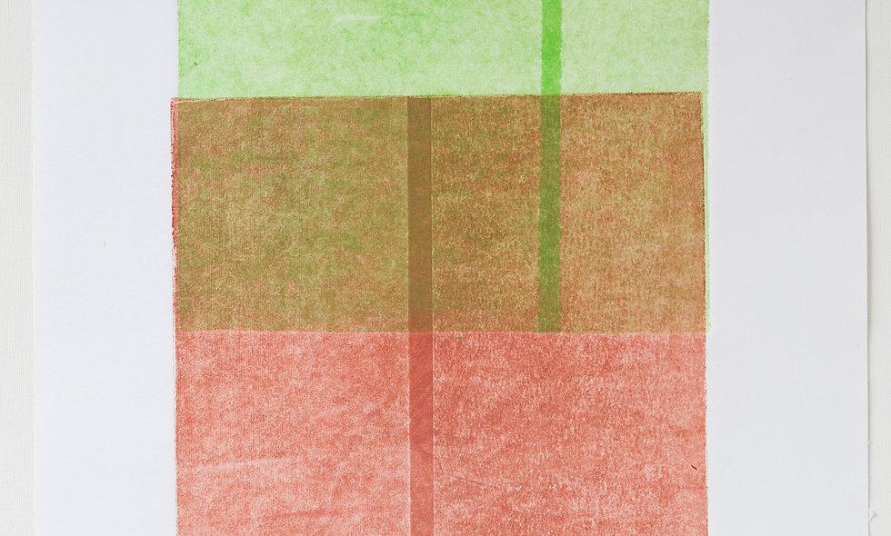 """Aguafuerte """"escala del verde al rojo pasando por un marrón"""""""