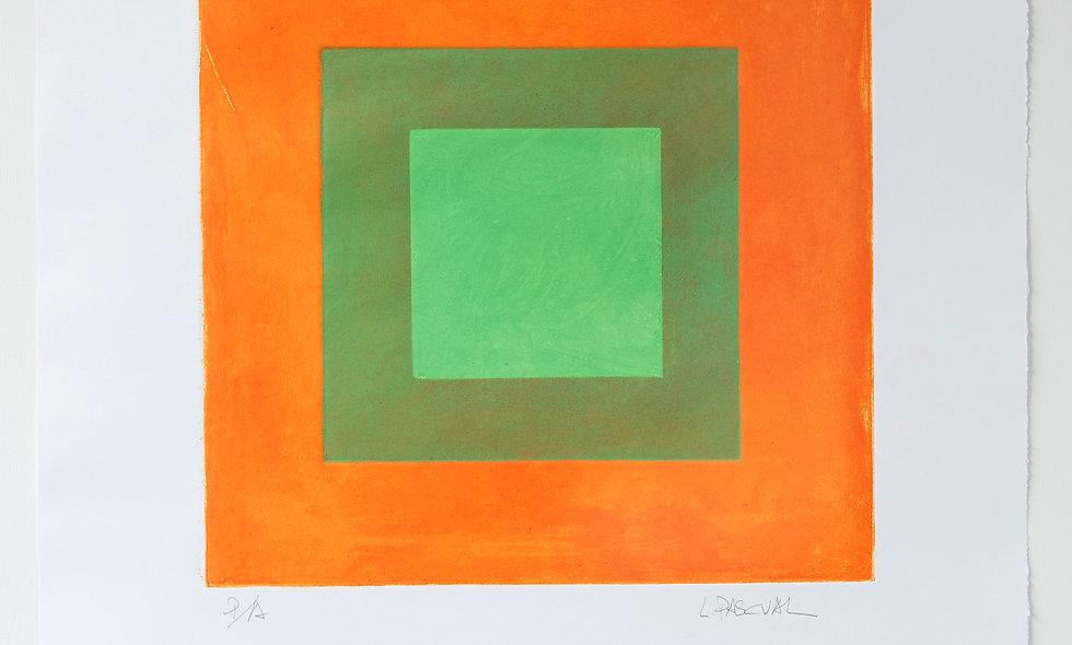 Aguafuerte con fondo naranja con toques de escala de verdes