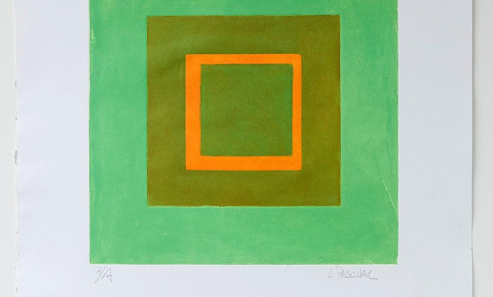 Aguafuerte con fondo verde y toques de naranja