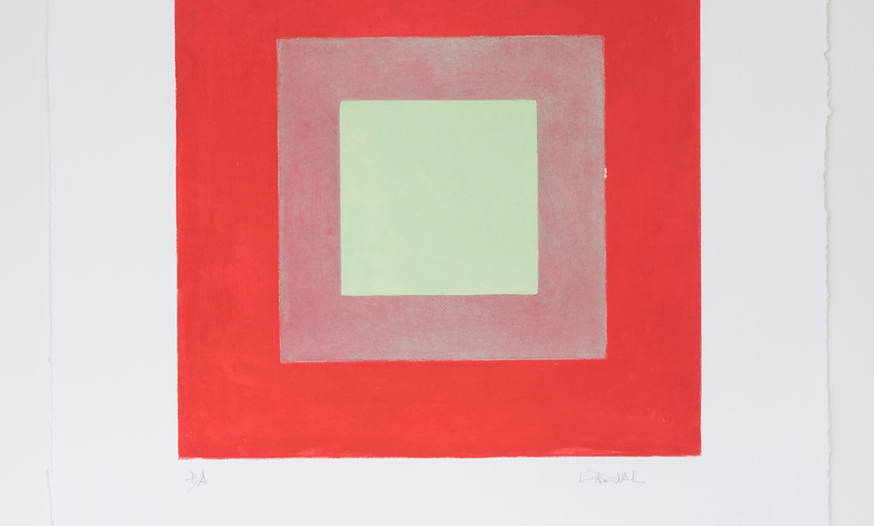 Aguafuertes con fondo rojo y escala de verdes