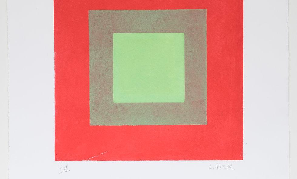 Aguafuerte con fondo rojo y tonos de verde