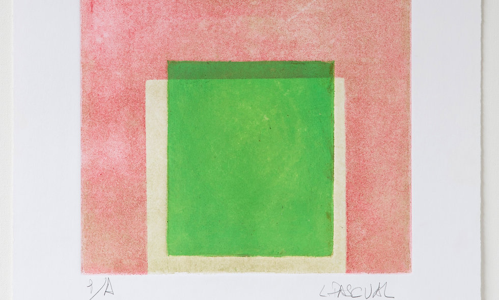 "Aguafuerte ""verde sobre rosa"""