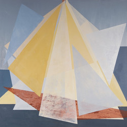 Triangulos blancos sobre fondo azul