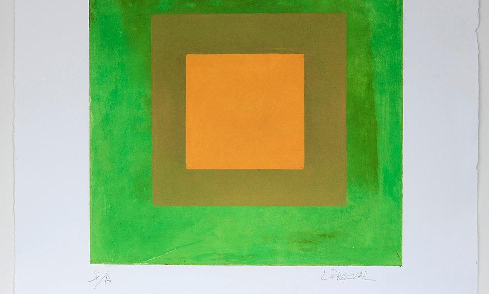 Aguafuerte con fondo verde y amarillos