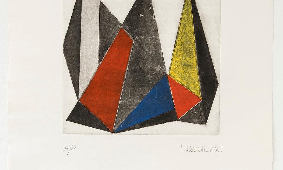 Composición triángulos con tonos de gris, rojo, amarillo, azul