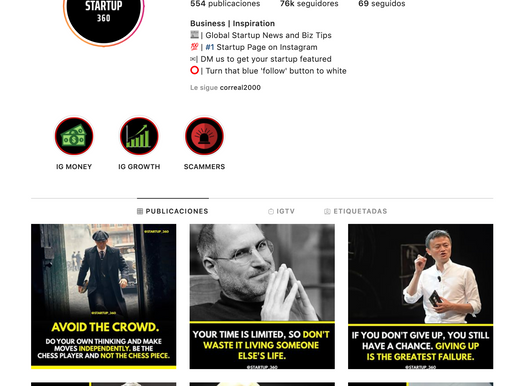 Insta account: Startup 360