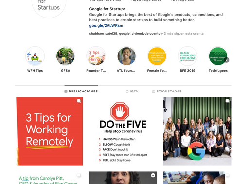 Insta account: Google for Startups
