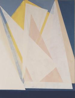 Triángulos blancos sobre fondo azul