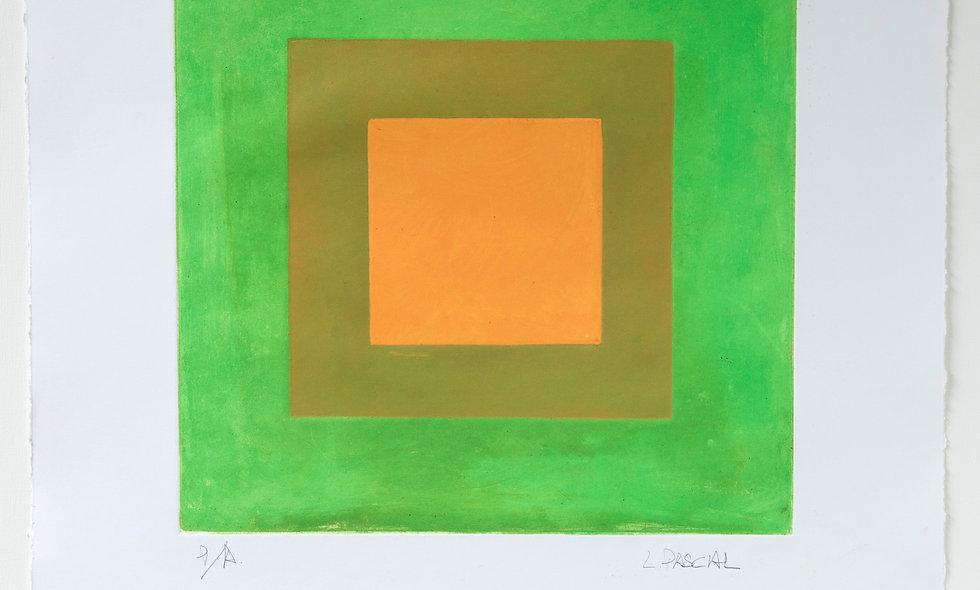 Aguafuerte con fondo verde y toques amarillos
