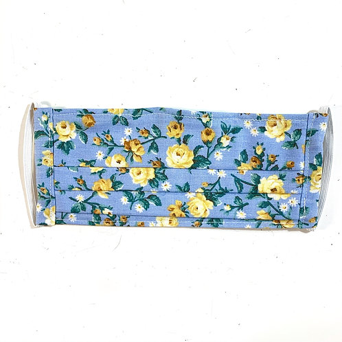 Blue Floral Pleated Mask