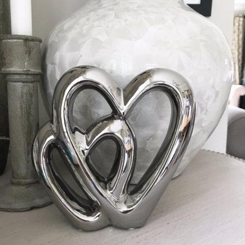 Silver Double Heart Ornament - 15cm
