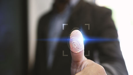 Businessman login with fingerprint scann