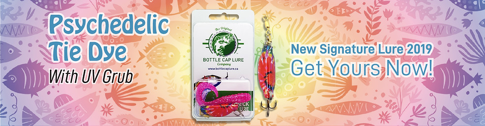 Botlle cap fishing lure with UV grub