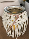 Modern macrame candle lantern