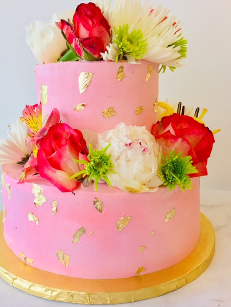 Two tiered floral cake