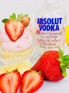Strawberry Lemon Drop Martini Cupcakes