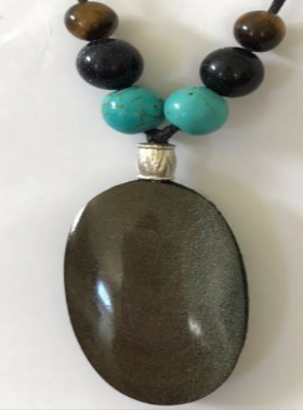 Quartz Necklace- Round Obsidian BQTTE203